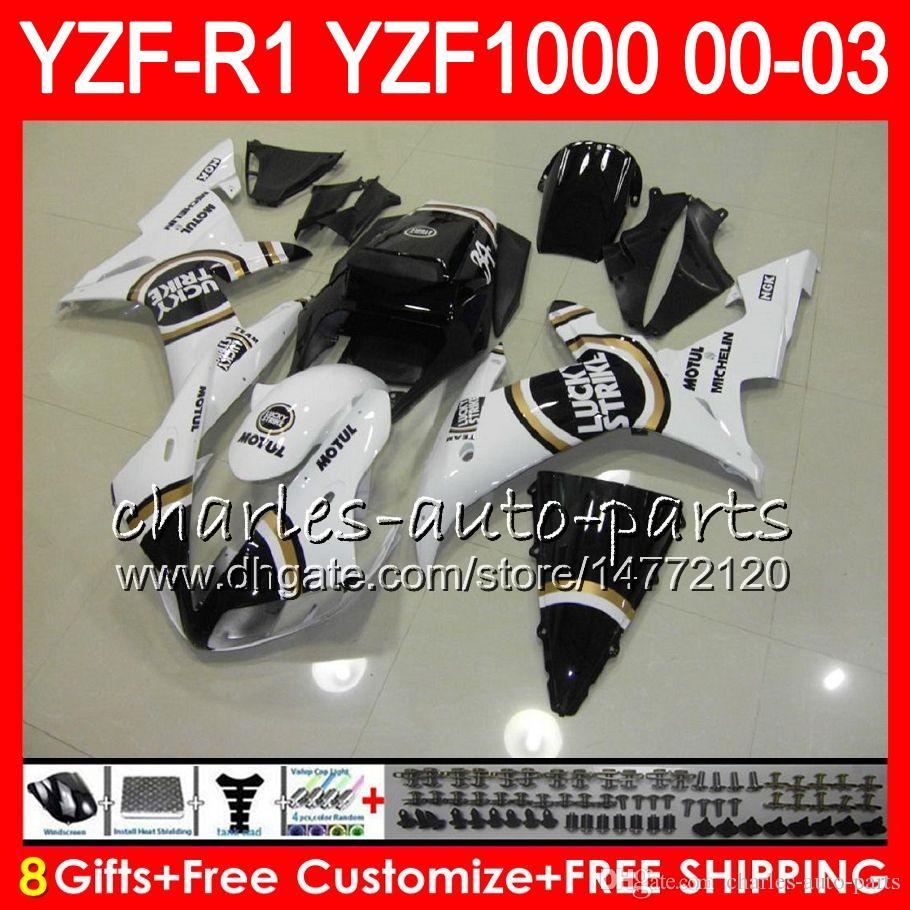 8Gift 23Farbe Körper für YAMAHA YZF R1 YZF 1000 YZFR1 02 03 00 01 62HM16 YZF1000 weiß schwarz R 1 YZF-R1000 YZF-R1 2002 2003 2000 2001 Verkleidung