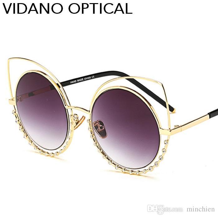 Compre Vidano Optical Luxo Diamante Redondo Olho Gato Óculos De Sol Para  Mulheres Europe Designer Choice Gradient Uv400 Proteção De Minchien, ... cb6ae56d60