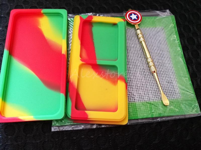 Silicone Wax Kit Set with square sheets pads mat small waxmate container Captain America gold dabber tool for dry herb jar vape