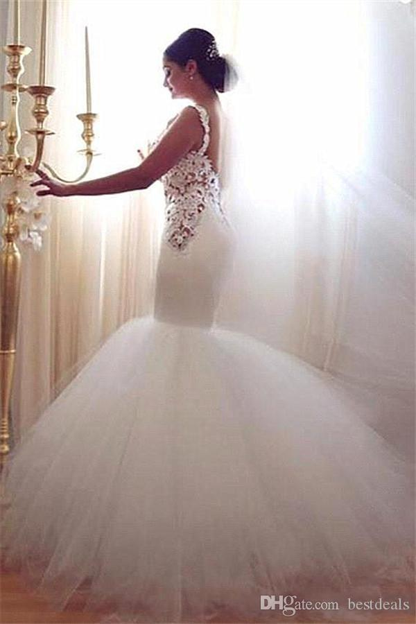 Glamorous Mermaid Goddess Lace Wedding Dresses 2016 Sweetheart Vintage Lace Sexy Backless Tiered Tulle Summer Bridal Gowns Arabic