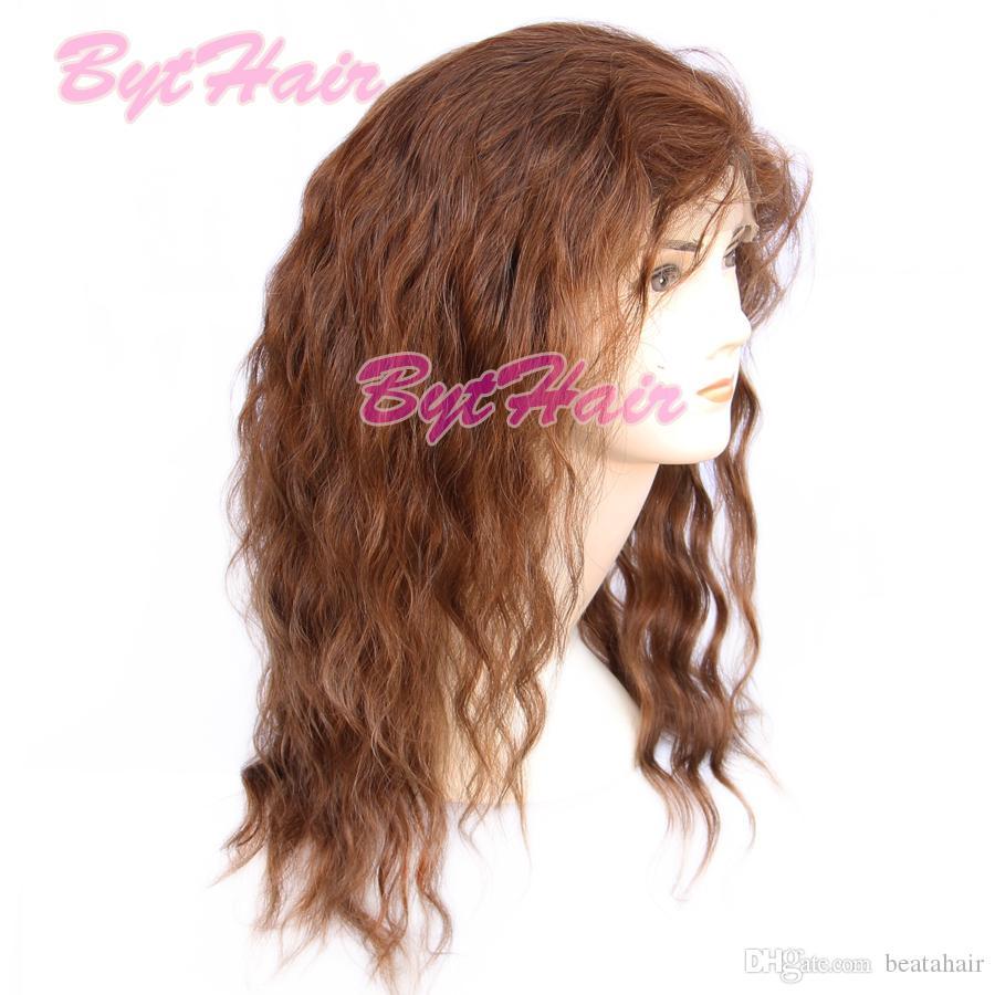 Bythair gewellte Lace Front Perücken braune Farbe natürlichen Haaransatz mit Babyhaar Jungfrau peruanischen volle Spitze Echthaar Perücken