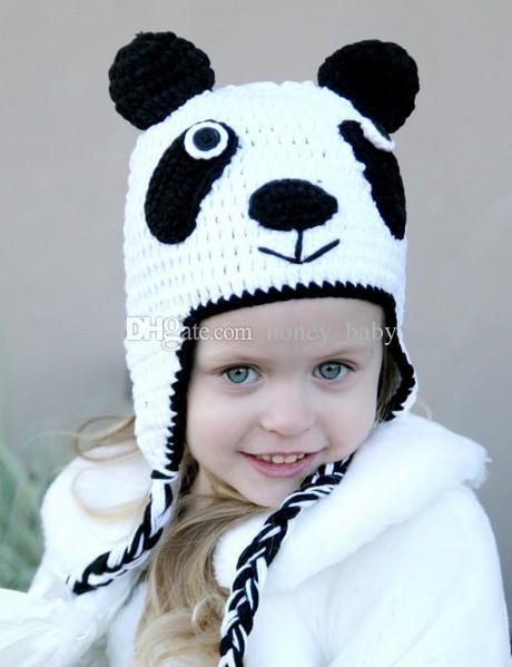 Панда Pattern Hat Baby Boy Девочка Зимняя Шапка Детей Трикотажные Вязание Крючком Малыша Новорожденных Рождество Hallowmas Животных Шапочка Ушные Хлопки