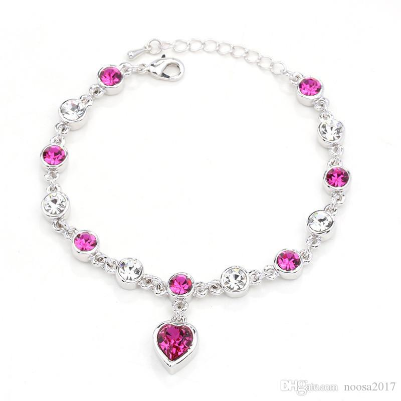 New design Deluxe Austrian crystal full diamond Love pendant bracelet Silver plated birthstone Crystal jewelry Swarovski Elements Bracelet