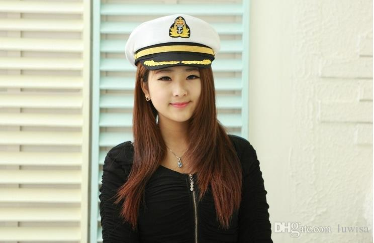 Men Women Cotton Sailor Captain Hat Uniforms Costume Party Cosplay Stage Perform Flat Navy Military Cap for Adult and Children