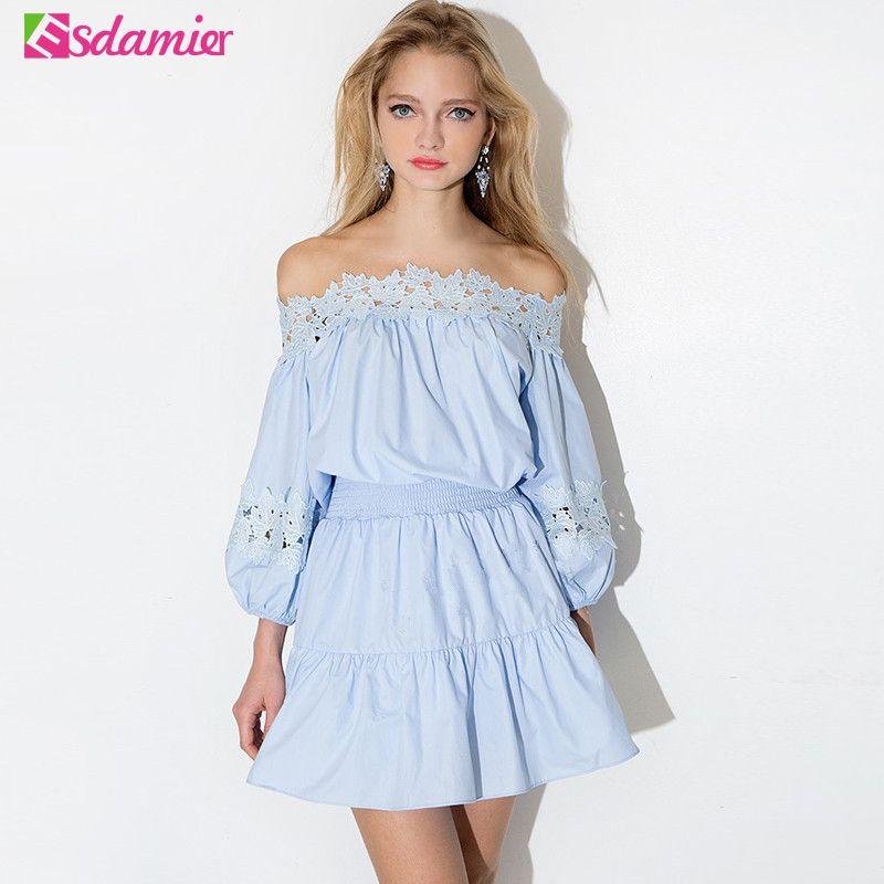 9a05b46b69 2019 Wholesale Hot Sale Summer Dress Kawaii Off Shoulder Tunic Women Dresses  Big Sizes Long Sleeve Lace Vestidos Sexy Sundress Robe Femme From Cacy