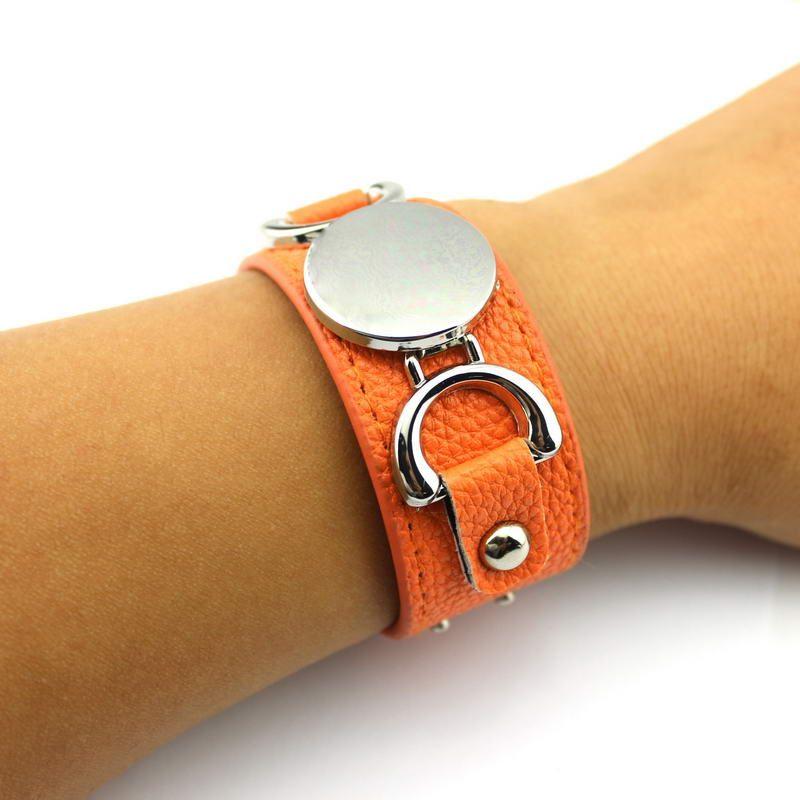 Silver Tone Blank Monogram Leather Cuff Bracelet for Women Men Personalized Monogram Blank Round Customized PU Leather Wrap Bracelet Bangle