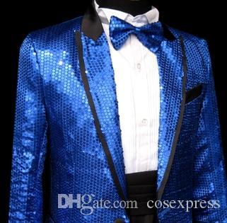 Blue Gangnam style bird tertiary stage performance Suit Horse riding dance singer Suit & Blazer plus size s-3xl