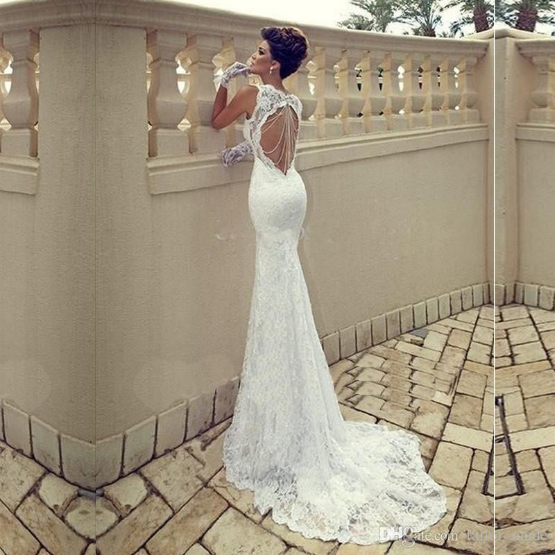 Free Shipping!Mermaid Lace Wedding Dress 2018 Vestidos De Novia Baratos Sexy Backless Wedding Dresses Backless