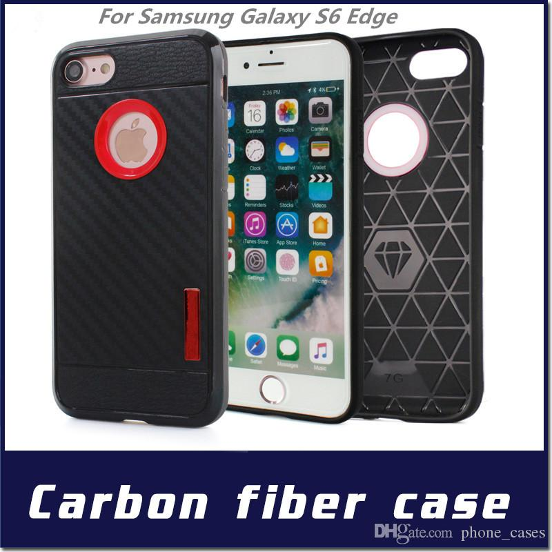 for lg x style tribute hd for iphone 6 7plus for samsung galaxy s6 s6edge carbon fiber case shockproof soft tpu pc hybrid