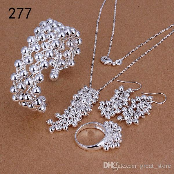 brand new mix style same price women's sterling silver plated jewelry sets,fashion 925 silver Necklace Bracelet Earring Ring set GTS39a