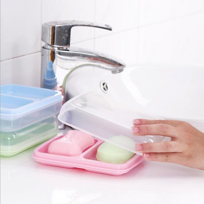Hotsale banyo aksesuarları ev seyahat taşınabilir kaymaz çift katmanlar plastik sabun kutusu kapağı konteyner boşaltma sabunluklar tutucu