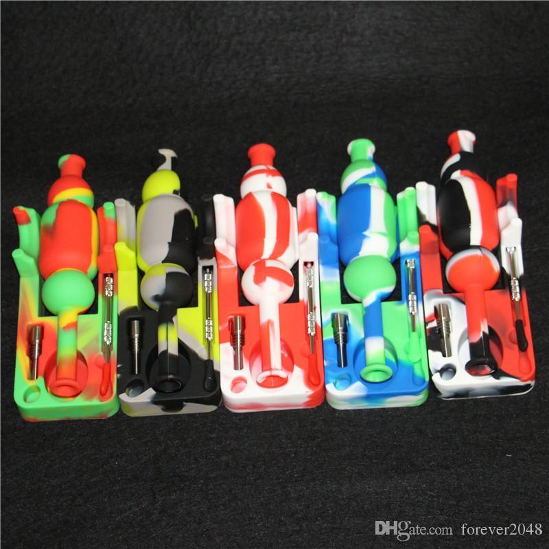 Hot narghilè in silicone nettare kit da collezione con Domlessless 10mm maschio ti nail nerct collectors olio impianti di ricoperte di vetro Bongs con tubi di acqua Silicon Bong DHL