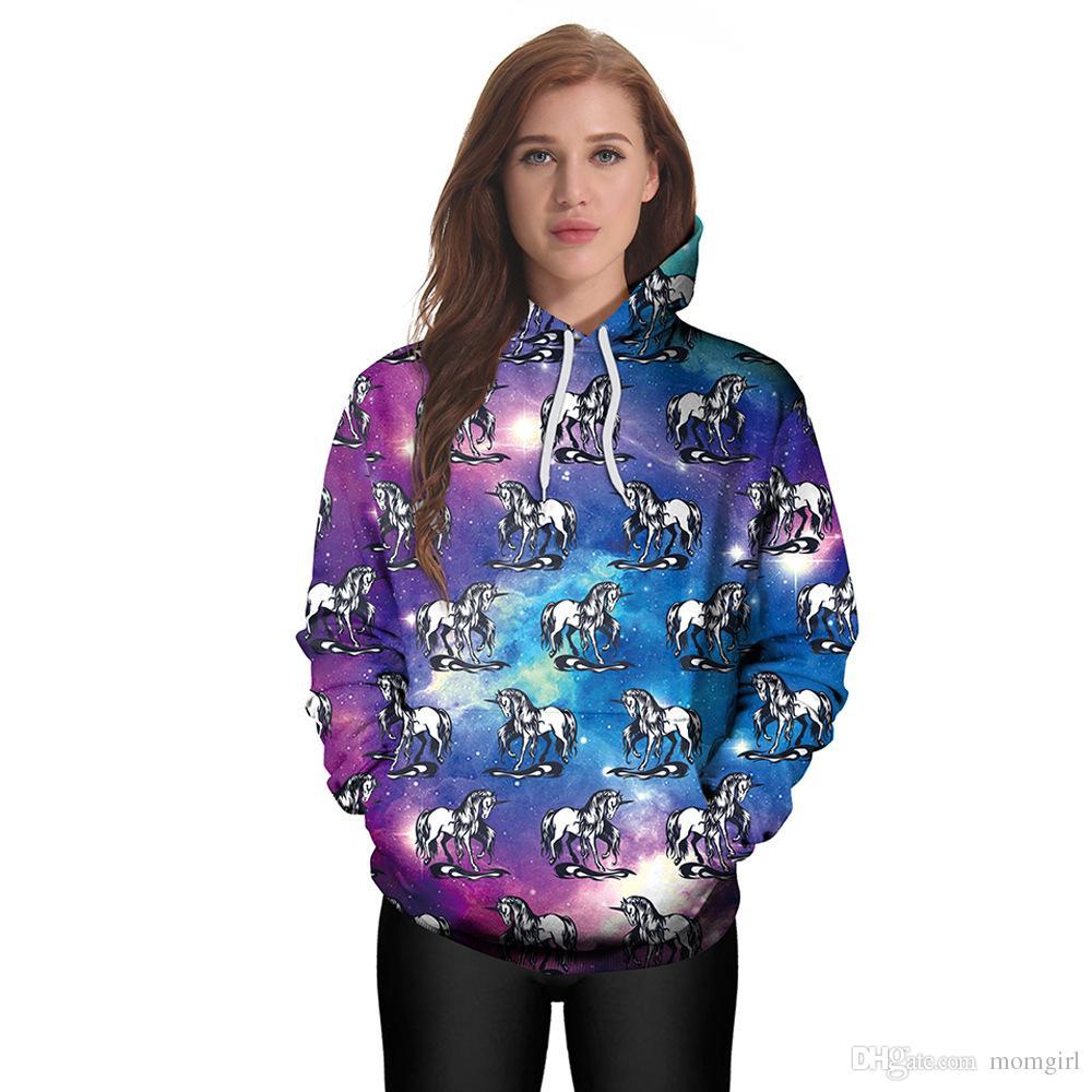5d4c8d31a827 Unicorn 3D Printed Hooded Women Cartoon Sweatshirts Kawaii Long ...