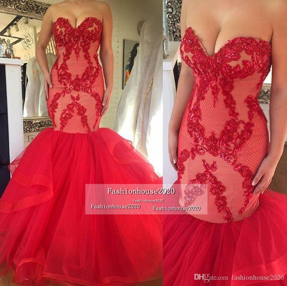 Sexy rote spitze meerjungfrau abendkleider schatz applikationen plus größe lange abendkleider formale party dress custom design