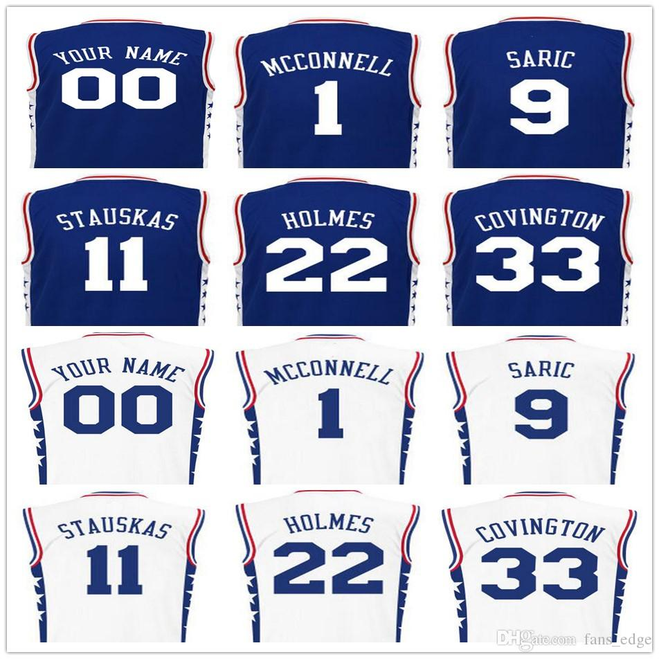 de7124401 ... Screen Printed Mens 1 TJ McConnell 9 Dario Saric Jersey 11 Nik Stauskas  22 Richaun Holmes Philadelphia 76ers ...
