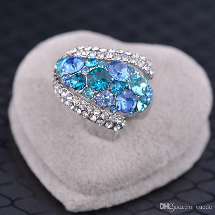 Bijoux fantaisie nouveau 925 argent Couple coeur bague Fit Pandora cristal féminin des anneaux Swarovski