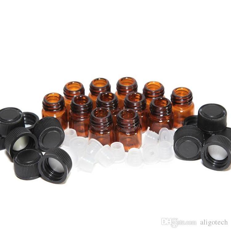 التي زجاجات / ورقة مربع 1ML 2ML العنبر البسيطة زجاج الأساسية العرض النفط عطر فيال 1CC 2CC الصغيرة براون عينة حاويات شحن مجاني