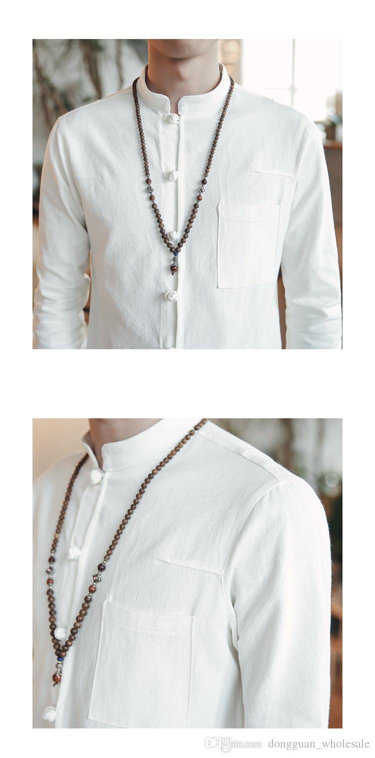 2018 Primavera Hombres Camisa de lino de algodón Camisa de manga larga de Kung Fu Estilo chino clásico Tang Ropa Slim Fit Camisas transpirables para hombres