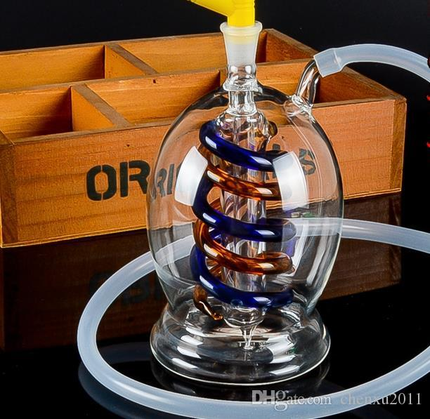Classic double-wire glass Hookah, send pot accessories, glass bongs, glass water pipe, smoking, color style random delivery