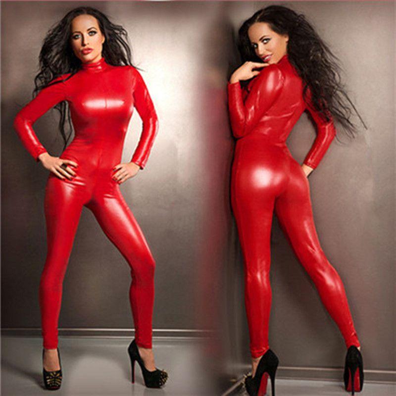 Top qualité Femmes Fantasia rouge sexy Faux cuir gothique fétichiste Costume Catsuit avant Zipper Jumpsuit Pole Dance Costume Stretchy Leotard