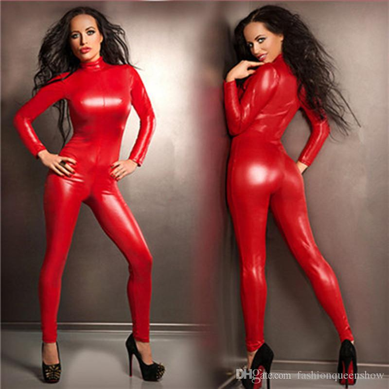 Top Quality Women Fantasia Sexy Red Faux Leather Catsuit Gothic Fetish Costume Front Zipper Jumpsuit Pole Dance Costume Stretchy Leotard