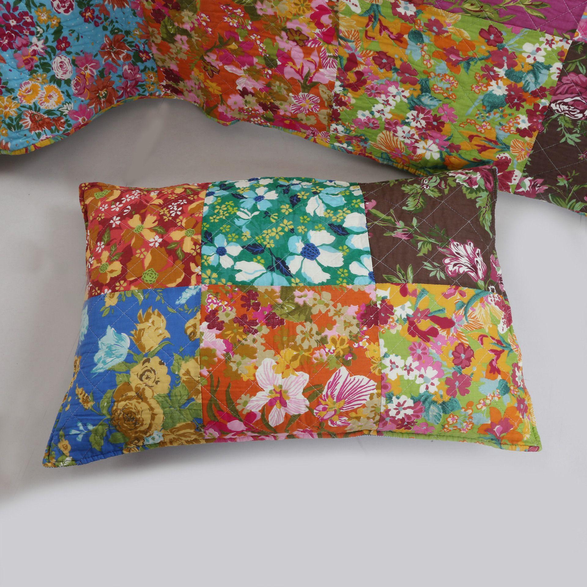 100% Cotone Colore Fiore Completo Queen Patchwork Handmade Trapunta Federa Copriletto Bedding Set Forniture JF005