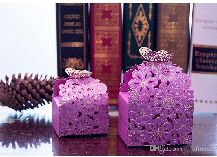 Cajas de regalo cajas de dulces cajas de dulces favores de la boda caja de regalo caja de regalo de la mariposa caja hueca