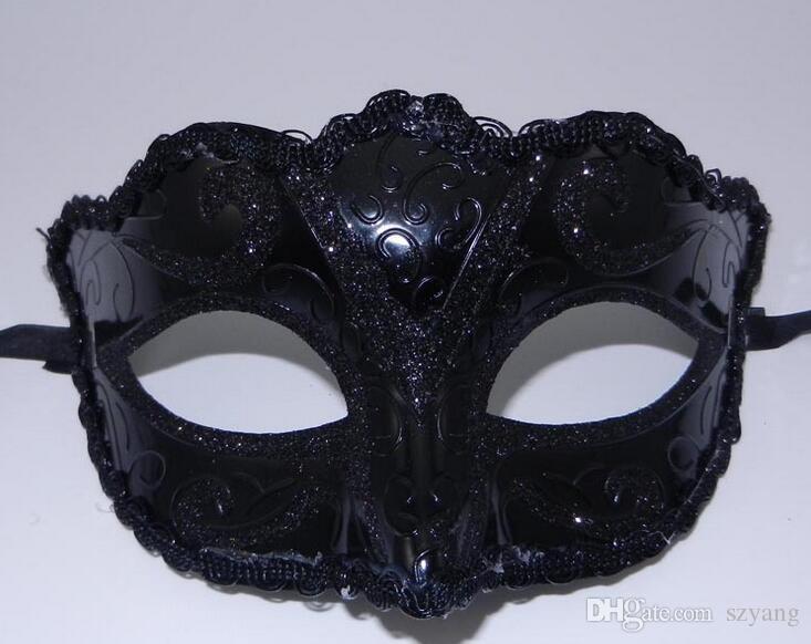 DHL Free Nero Venezia Maschere Masquerade Party Mask Regalo di Natale Mardi Gras Man Costume Sexy pizzo con frange Gilter Donna Dance Mask