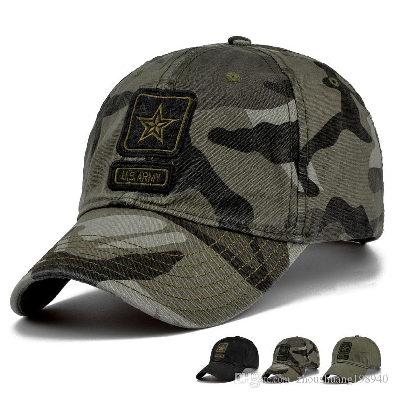 4715b656b1a5c US Army Cap Camo Baseball Cap Men Camouflage Baseball Hats Snapback Bone  Masculino Trucker Cap Pentagram Dad Hat Big Hats Hat Stores From Zcy188