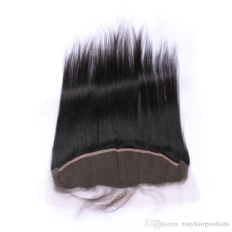 Malaisien Humain Droite Cheveux Dentelle Frontale Fermeture Noeuds Blanches Vierge Naturelle Couleur Full Lace Partie Frontale Libre