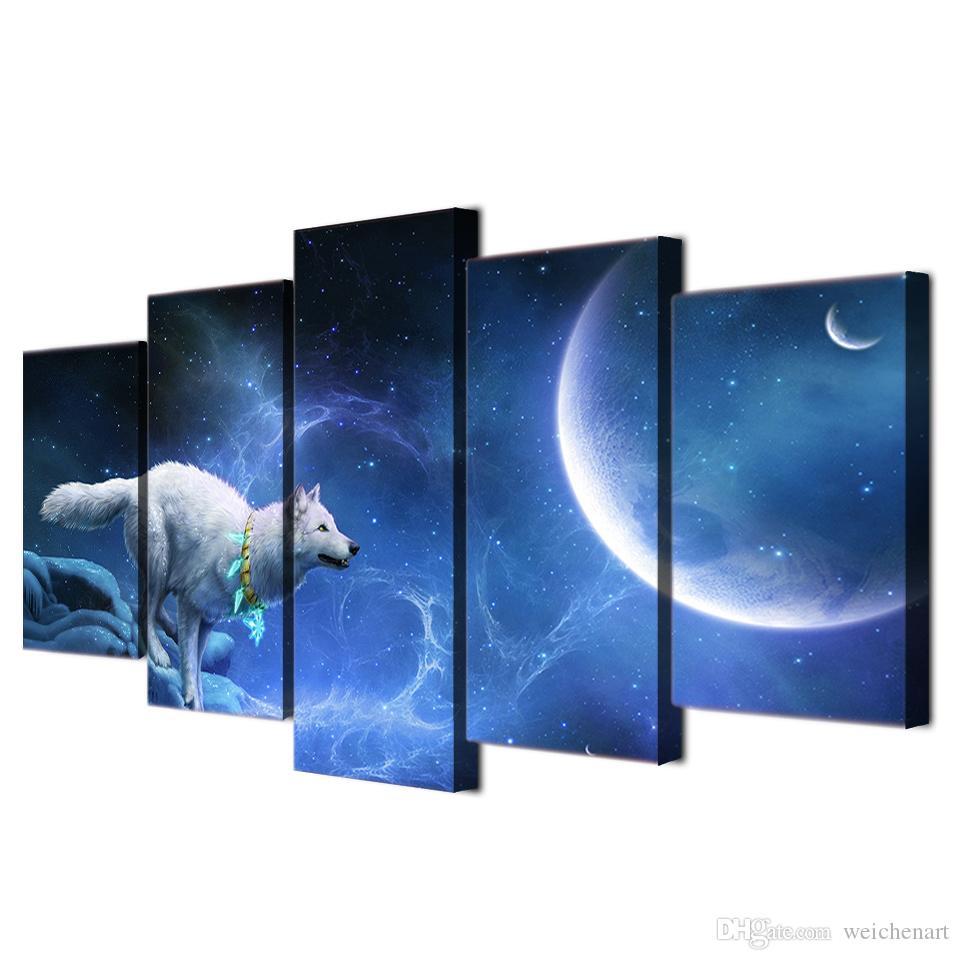 / Set Framed HD Impresso mágica lobo branco Grupo pintura retrato Canvas sala de impressão decoração cartaz Impressão em tela Frete grátis / ny-321