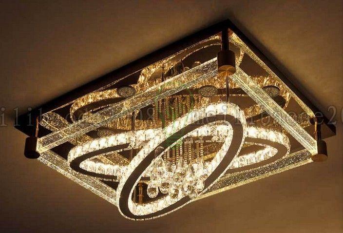 BE50 Simples e Moderno Criativo Luz de Teto Retangular Oval LEVOU Lâmpadas De Cristal Sala de estar Quarto Restaurante Hotel Luzes de Teto Iluminação