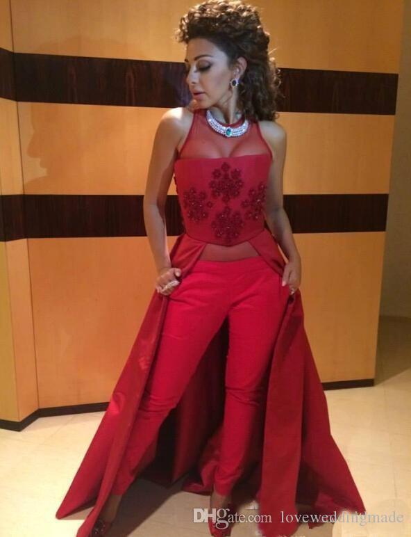 Kaftan Dubai Muslim Red Evening Dresses 2019 Arabic Myriam Fares Women Suit Pants Satin Formal Gowns Bridal Party Wear
