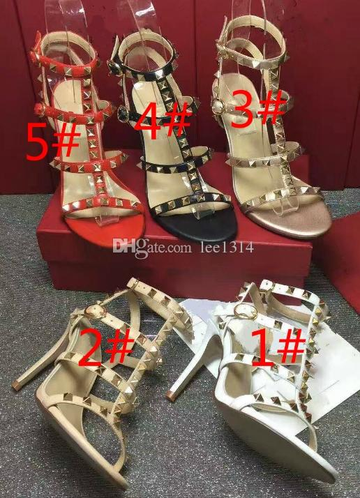Fashion leather female chain sheepskin high-heeled sandals Golden rivet leakage refers to thick with sandals for women