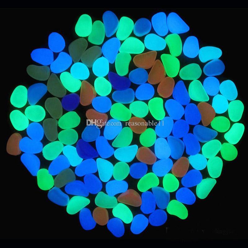 Декоративные гравий камень бусины для вашего фантастического сада или двора 100 шт. / упак. светятся в темноте галька камни для дорожки восемь цветов