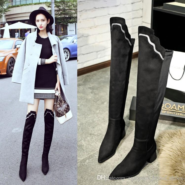 New Fashion Women's Warm Long boots mid-heel shoes Sexy Ledies Stretch booties Woman Over-The-Knee Boots