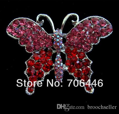 Tom de prata bonito claro e claro AB cristal grande tamanho borboleta broche