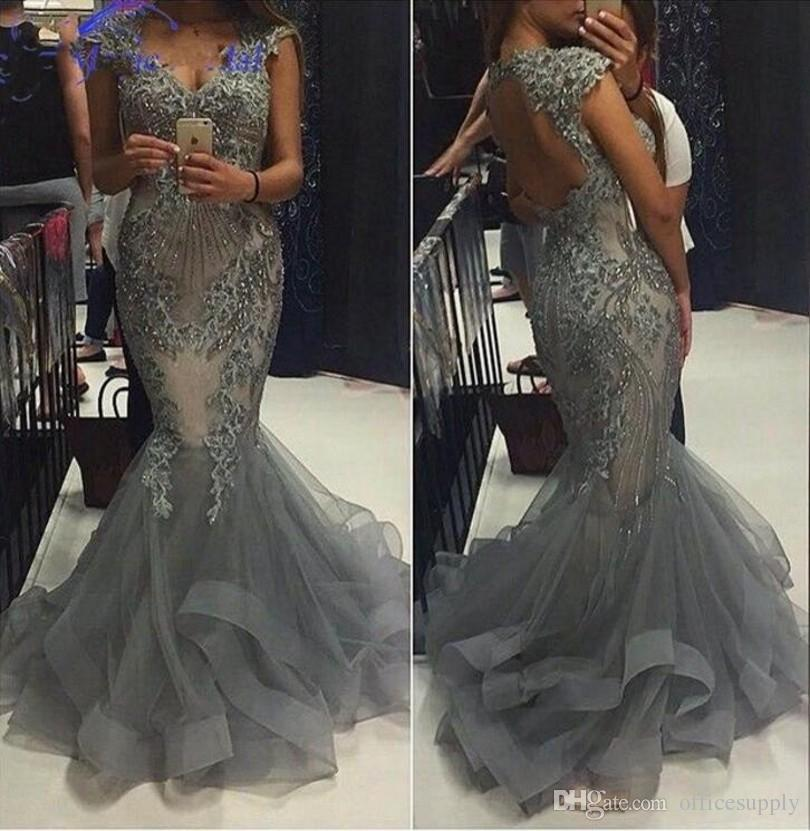 Luxury 2018 Mermaid Evening Gowns With Capped Sleeves V Neck Hollow Back  Tiered Ruffles Formal Gowns For Prom Party Dresses Plus Size Short Evening  Dresses ... fc224bb2c58e