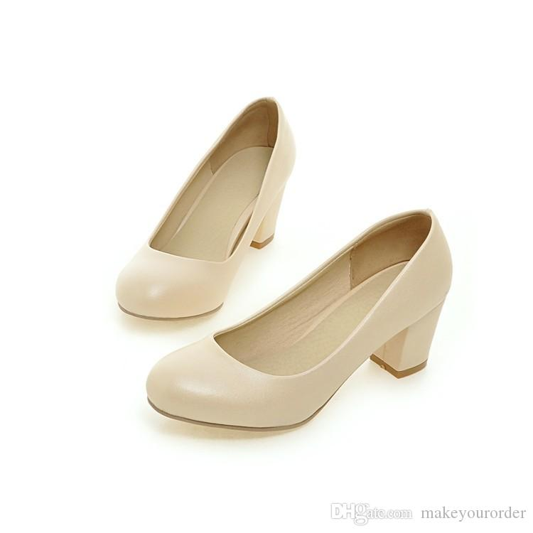wholesaler factory price hot seller chunky heel round nose lady office women wedding sweet color shoes dress shoes103