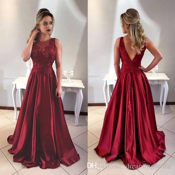 Prosta Red A Line Backless Prom Dresses 2017 Nowa Długość podłogi Bez Rękawów Lace Aplikacja Formalna Suknia Wieczorowa Party Dresses Custom Made