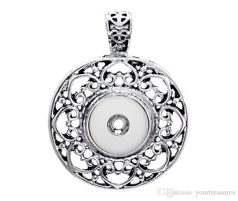 Retro Flowers ginger snap button jewelry Crystal pendant Necklace for women's fit 12mm snaps men's Vintage accessories