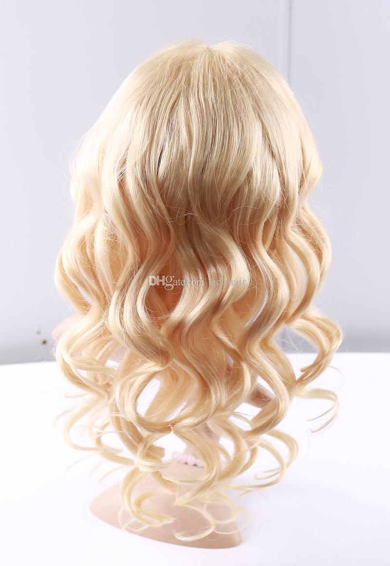Blonde 613 Human Hair Glueless Full Lace Wig With Baby Hair 8A Platinum Body Wave Lace Front Wig For Woman Bleached Knot