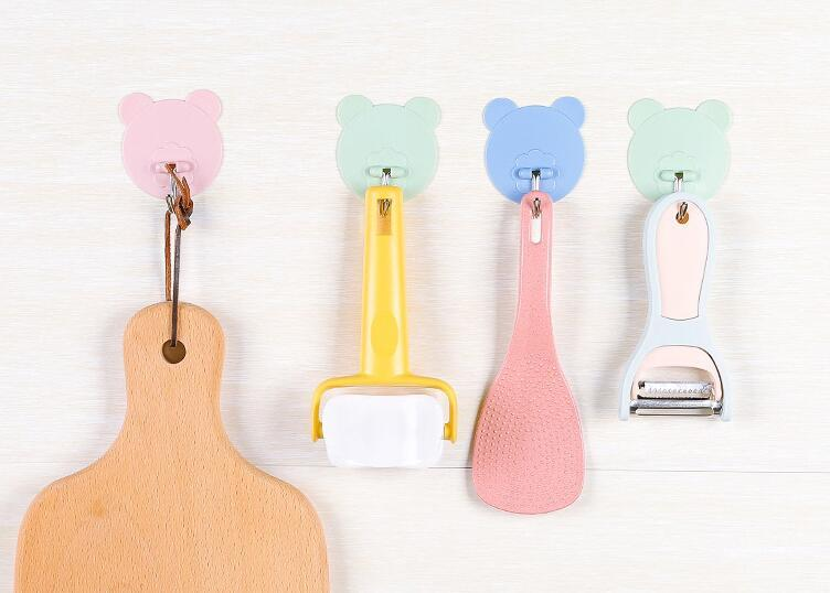 new home bathroom kitchen accessories cute cartoons self adhesive seamless holder hanger hanging door wall plastic hooks for storage