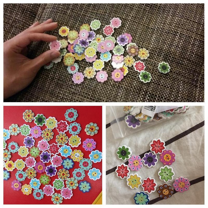 500 Adet Toptan Doğal Ahşap Düğmeler Renkli Karışık Çiçekler Dalga Kenar Karalama Defteri Dikiş Aksesuarları DIY Craft 2 Delik 20x19mmTY2155