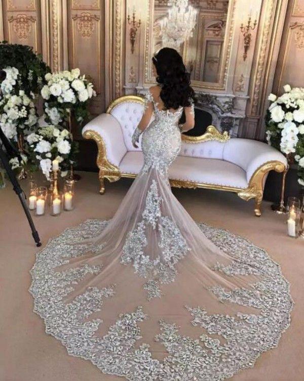 럭셔리 웨딩 드레스 섹시한 깎아 지른듯한 블링 페르시 레이스 아플리케 높은 목 환상 긴 소매 샴페인 아이보리 화이트 인어 신부 가운