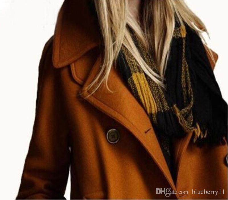 Fashion New style Autumn Loose Style Solid Wool Double-Breasted Outerwear Women Coats European Style