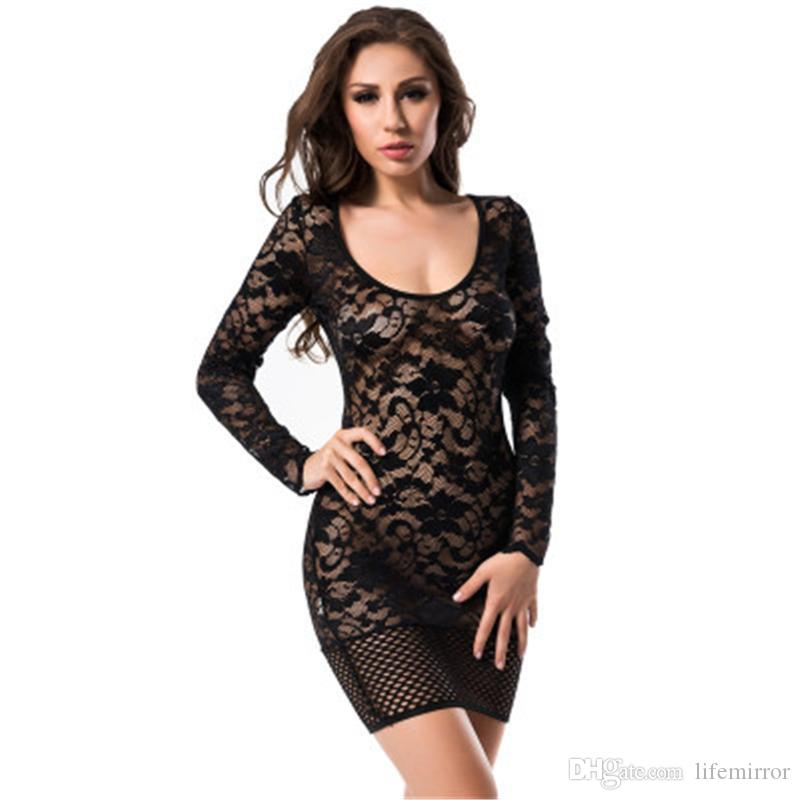 affb999eb 2017 Women Fashion Long Sleeves Nightclub Sexy Low Cut Solid Deep Party  Openwork Backless Lace Mini Dress Yw 043 Red And Black Party Dress Cocktail  Dress ...