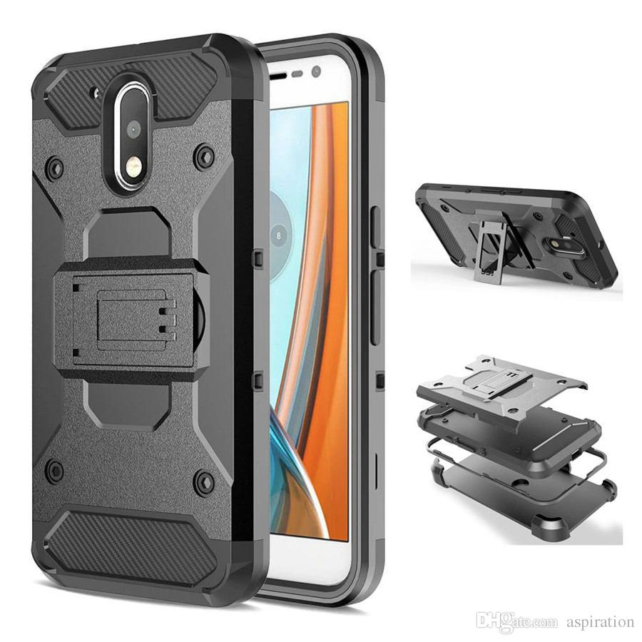 uk availability a1f7b 9d7f2 Hybrid Combo Full Body Cover for Motorola Moto G4 / G4 Plus Heavy Duty  Rugged Holster Armor Hard Case Belt Clip with Kickstand