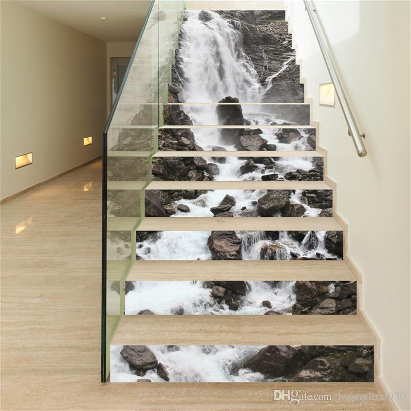 18*100cm Diy Simulational Waterfall Stone Wall Decal For Stairs 3d Vinyl  Waterproof Stair Sticker Home Decor Poster Full Wall Decal Full Wall Decals  From ...