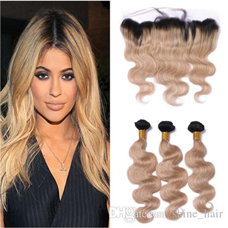 Light Brown Ombre Peruvian Human Hair 3bundles With 13x4 Lace